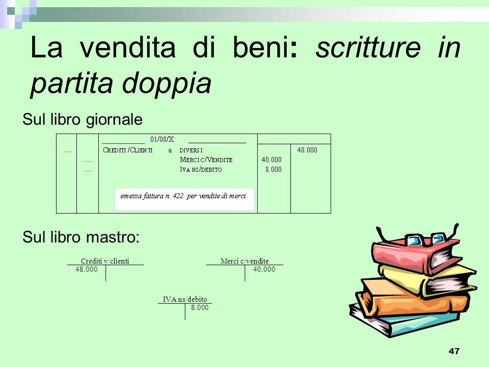 47 La vendita di beni: scritture in partita doppia Sul libro giornale Sul libro mastro: Crediti v/clienti Merci c/vendite 48.000 40.000 IVA ns/debito