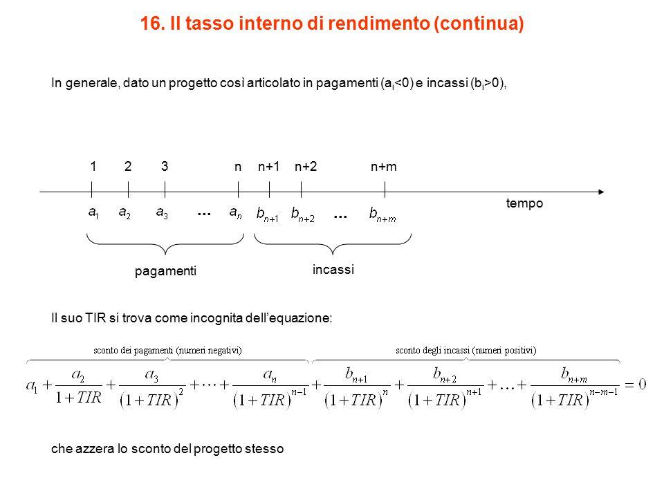 16. Il tasso interno di rendimento (continua) pagamenti incassi In generale, dato un progetto così articolato in pagamenti (a i 0), Il suo TIR si trov