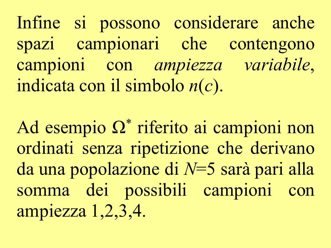 Infine si possono considerare anche spazi campionari che contengono campioni con ampiezza variabile, indicata con il simbolo n(c). Ad esempio Ω * rife
