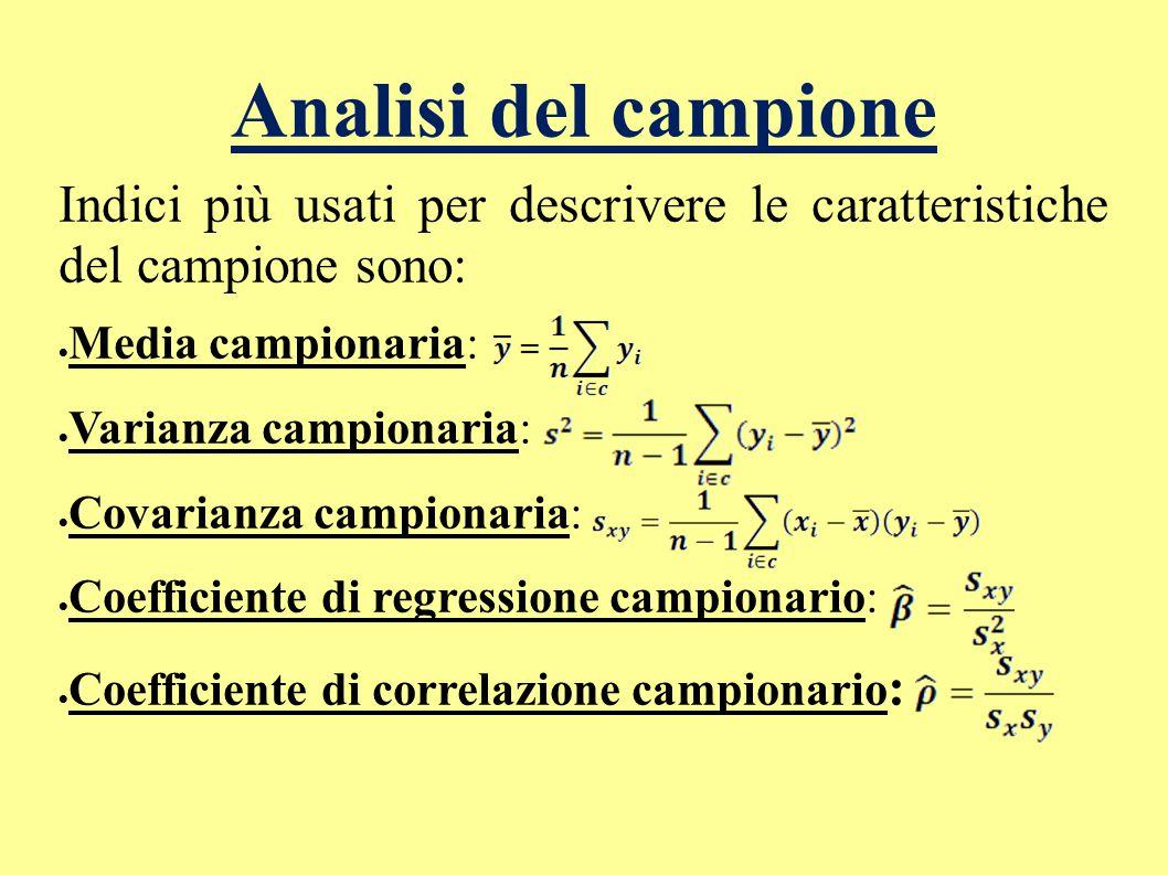 Indici più usati per descrivere le caratteristiche del campione sono:  Media campionaria:  Varianza campionaria:  Covarianza campionaria:  Coeffic