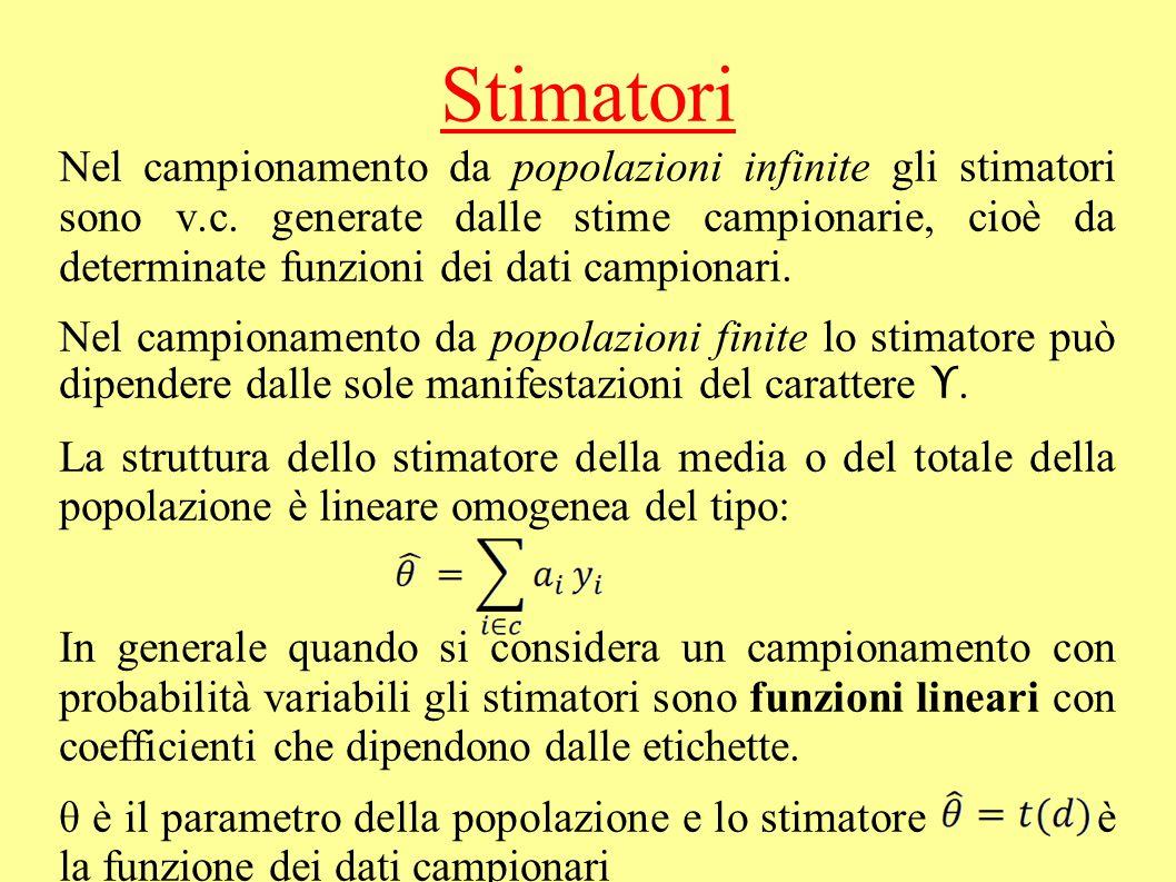 Stimatori Nel campionamento da popolazioni infinite gli stimatori sono v.c. generate dalle stime campionarie, cioè da determinate funzioni dei dati ca