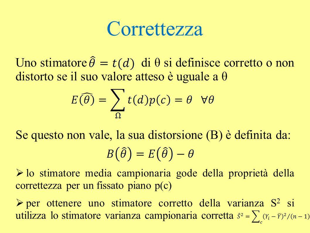 Correttezza Uno stimatore di θ si definisce corretto o non distorto se il suo valore atteso è uguale a θ Se questo non vale, la sua distorsione (B) è