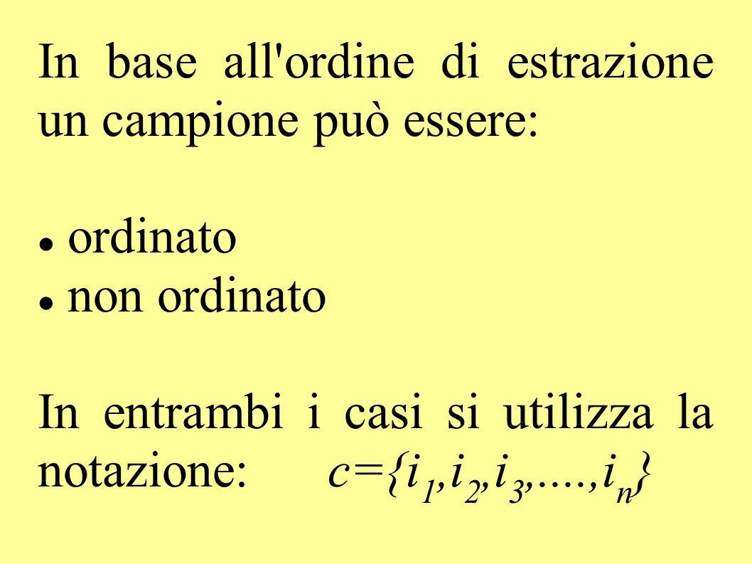 In base all'ordine di estrazione un campione può essere: ordinato non ordinato In entrambi i casi si utilizza la notazione: c={i 1,i 2,i 3,....,i n }