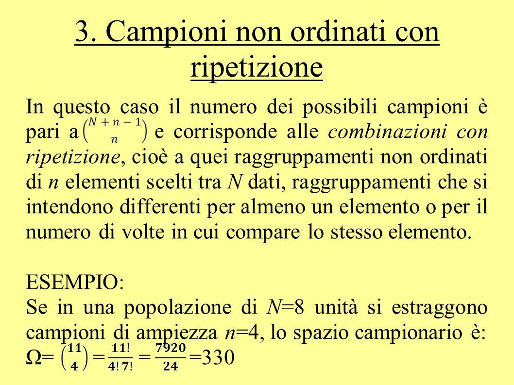 3. Campioni non ordinati con ripetizione In questo caso il numero dei possibili campioni è pari a e corrisponde alle combinazioni con ripetizione, cio
