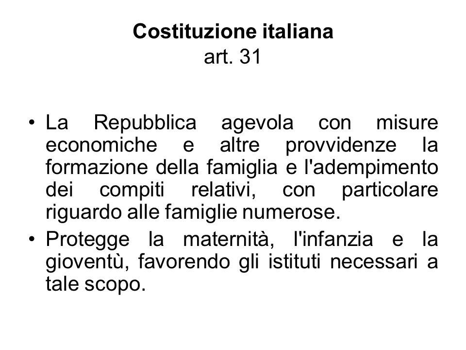 Costituzione italiana art. 31 La Repubblica agevola con misure economiche e altre provvidenze la formazione della famiglia e l'adempimento dei compiti