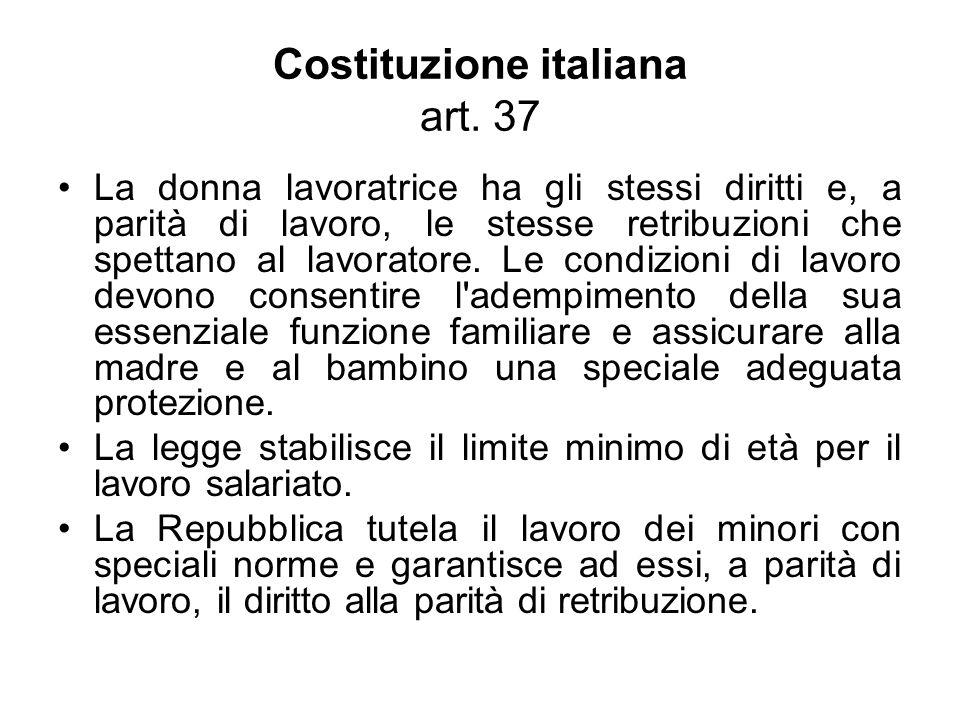 Costituzione italiana art. 37 La donna lavoratrice ha gli stessi diritti e, a parità di lavoro, le stesse retribuzioni che spettano al lavoratore. Le