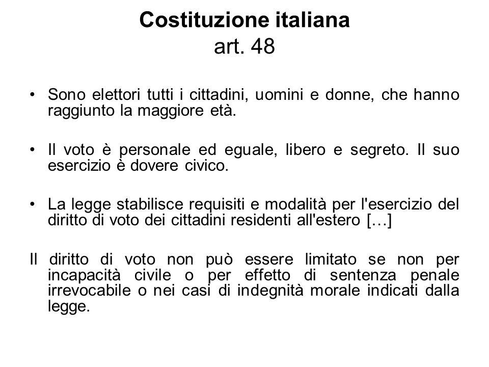 Costituzione italiana art. 48 Sono elettori tutti i cittadini, uomini e donne, che hanno raggiunto la maggiore età. Il voto è personale ed eguale, lib