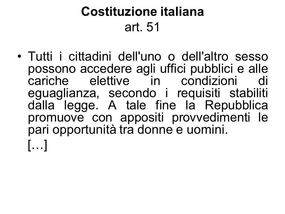 Costituzione italiana art. 51 Tutti i cittadini dell'uno o dell'altro sesso possono accedere agli uffici pubblici e alle cariche elettive in condizion