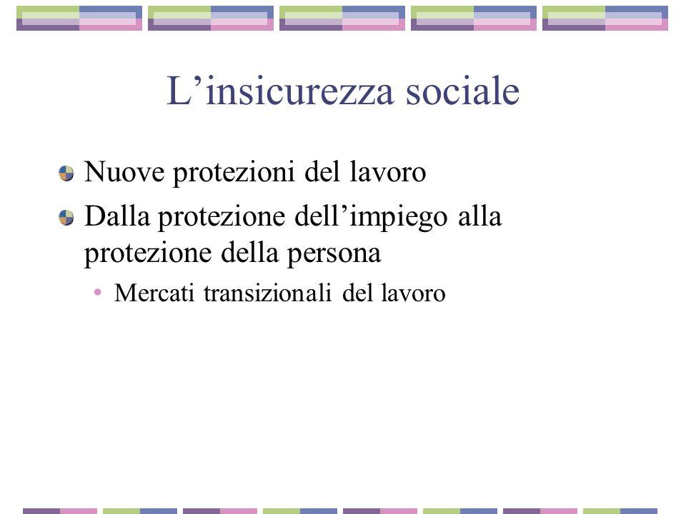L'insicurezza sociale Nuove protezioni del lavoro Dalla protezione dell'impiego alla protezione della persona Mercati transizionali del lavoro