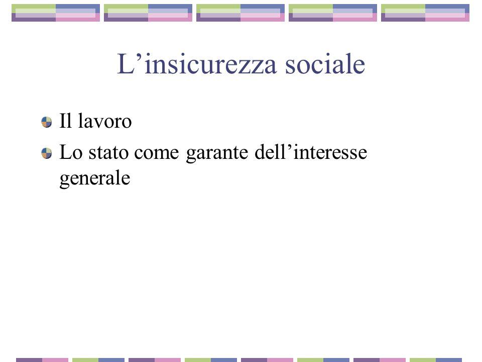 L'insicurezza sociale Il lavoro Lo stato come garante dell'interesse generale