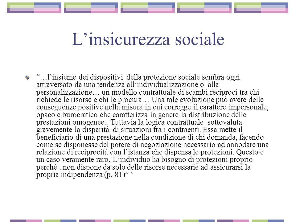 """L'insicurezza sociale """"…l'insieme dei dispositivi della protezione sociale sembra oggi attraversato da una tendenza all'individualizzazione o alla per"""