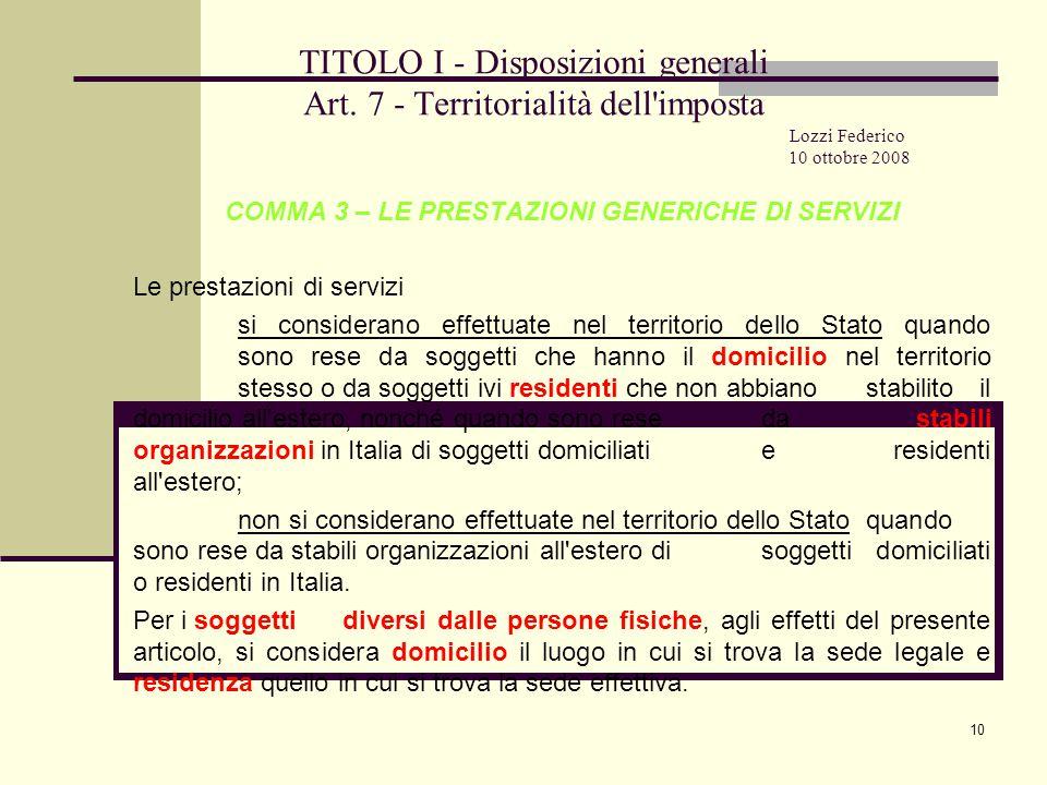 10 TITOLO I - Disposizioni generali Art.