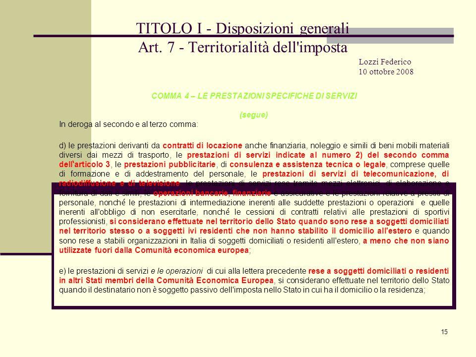 15 TITOLO I - Disposizioni generali Art.