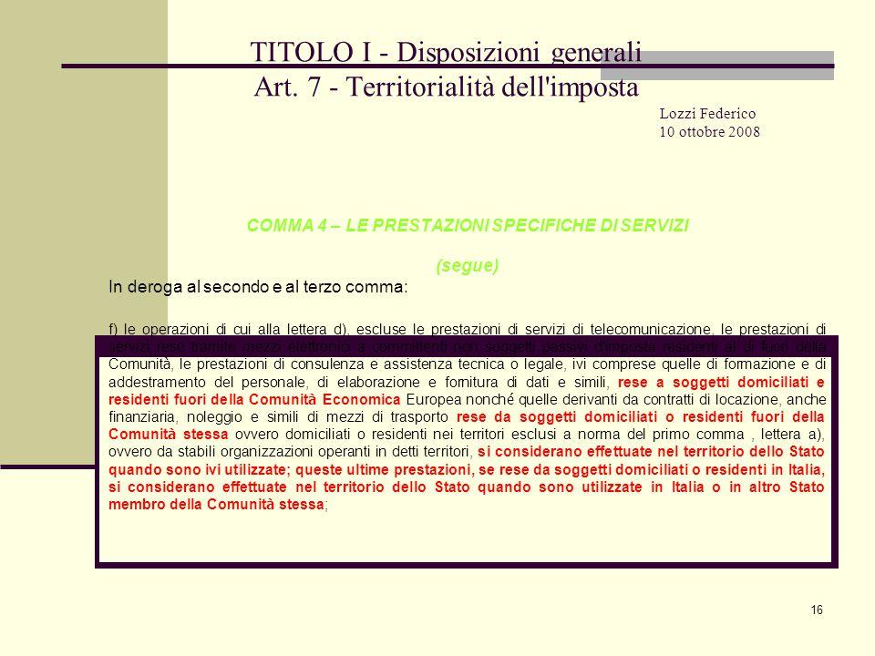 16 TITOLO I - Disposizioni generali Art.