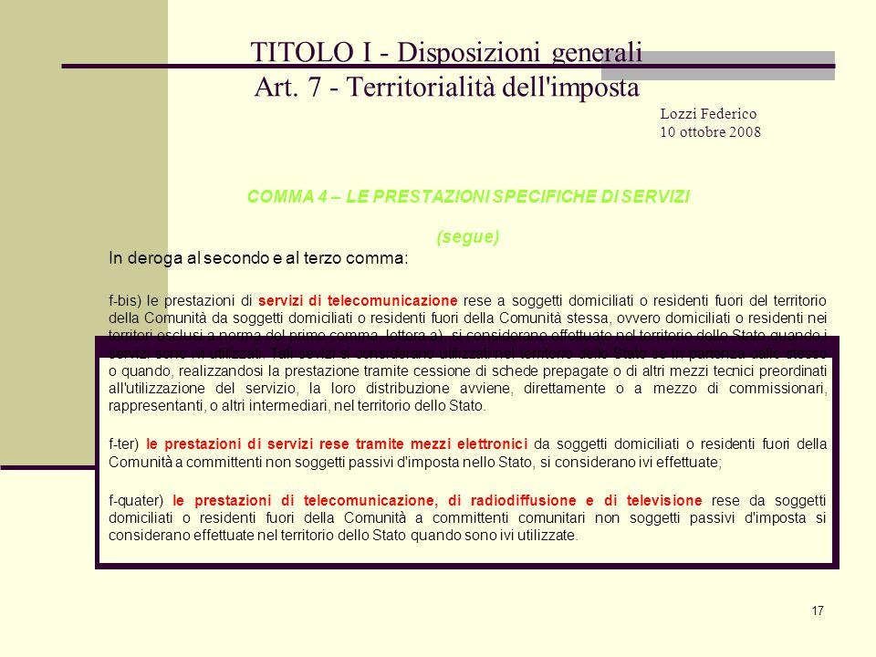 17 TITOLO I - Disposizioni generali Art.