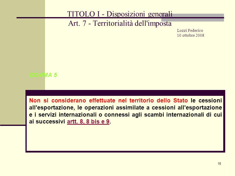 18 TITOLO I - Disposizioni generali Art.