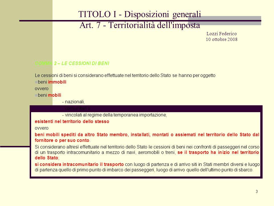 14 TITOLO I - Disposizioni generali Art.