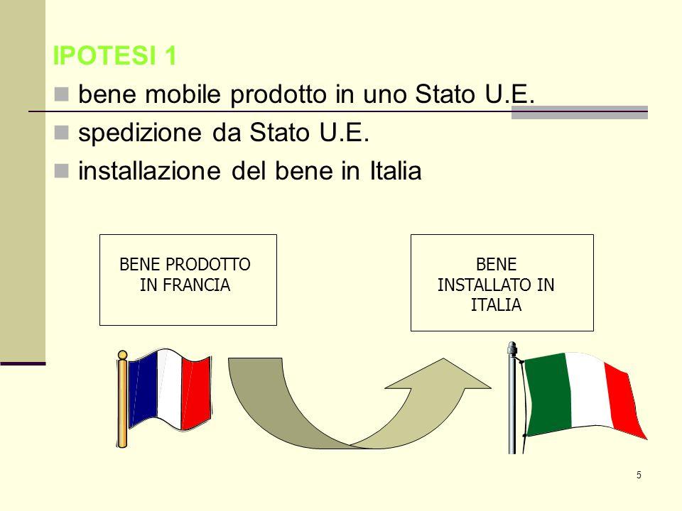 6 IPOTESI 2 bene mobile prodotto fuori dalla U.E.spedizione da Stato non U.E.