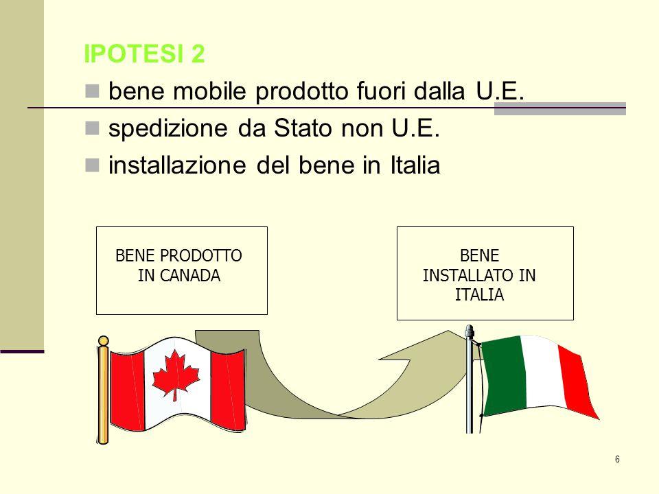 6 IPOTESI 2 bene mobile prodotto fuori dalla U.E. spedizione da Stato non U.E.