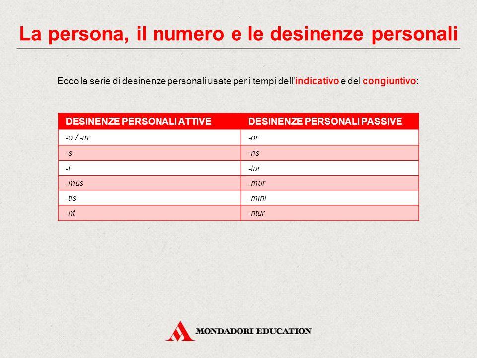 La persona, il numero e le desinenze personali Nella coniugazione dei modi finiti è possibile distinguere tre persone e due numeri: singolare: I perso