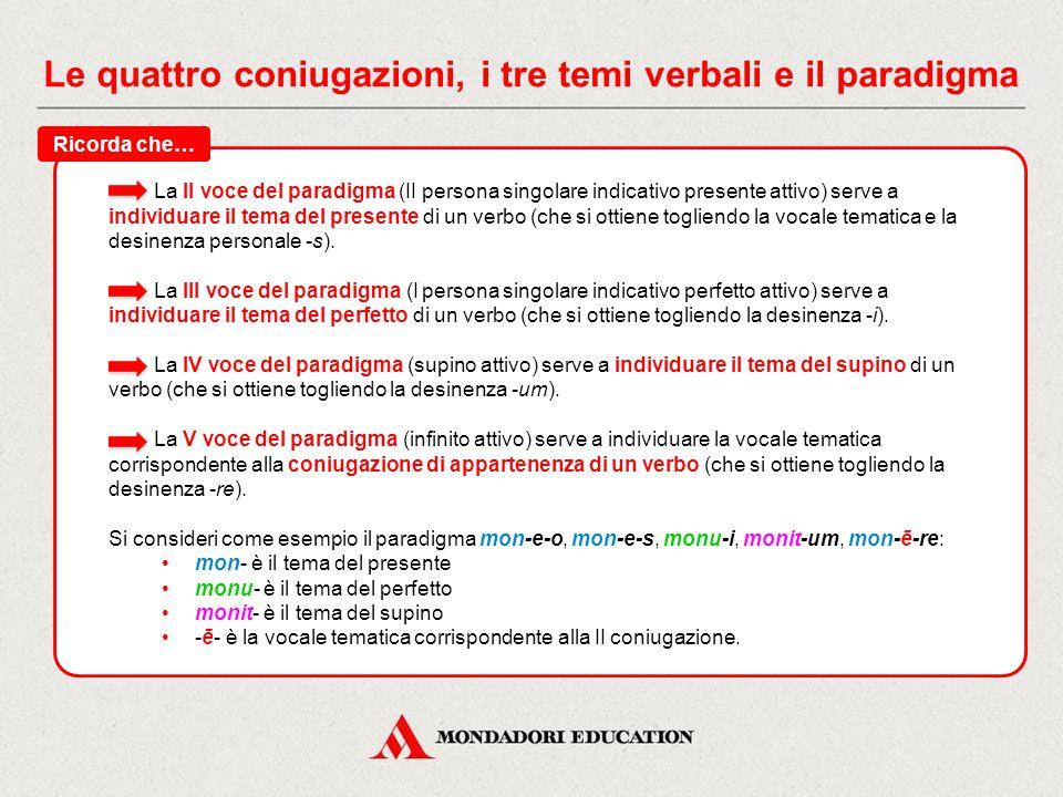 Le quattro coniugazioni, i tre temi verbali e il paradigma Il paradigma è un insieme di 5 forme verbali (sempre riportate per ciascun verbo sul vocabo