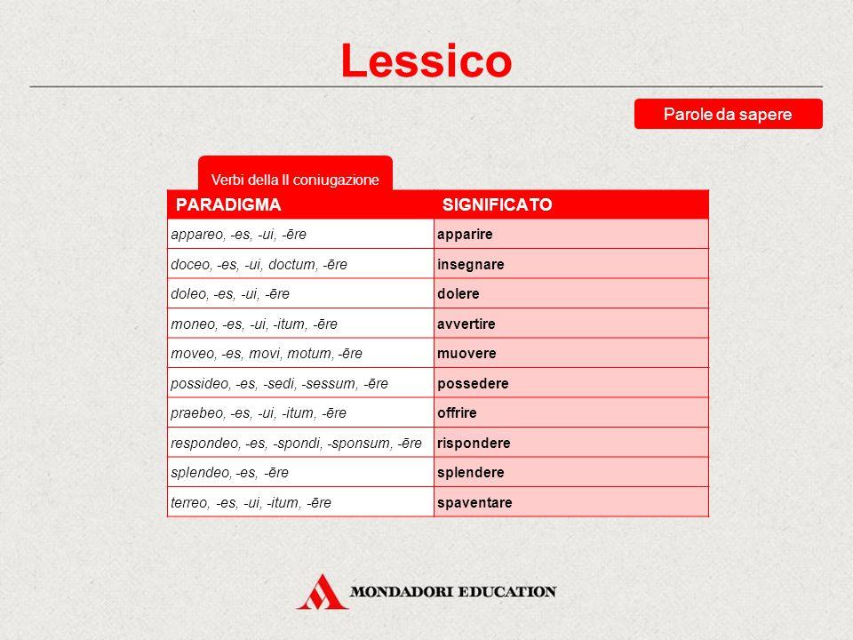Verbi della I coniugazione Lessico Parole da sapere Impara a memoria per ciascuna delle quattro coniugazioni alcuni fra i verbi più comuni della lingu