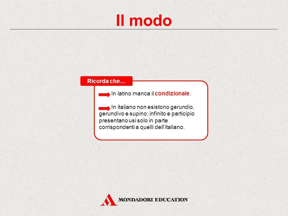 Il modo Il modo esprime il punto di vista del parlante in relazione all'azione espressa dal verbo. Il verbo latino presenta otto modi, distinti in fin