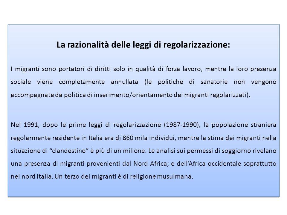 La razionalità delle leggi di regolarizzazione: I migranti sono portatori di diritti solo in qualità di forza lavoro, mentre la loro presenza sociale viene completamente annullata (le politiche di sanatorie non vengono accompagnate da politica di inserimento/orientamento dei migranti regolarizzati).