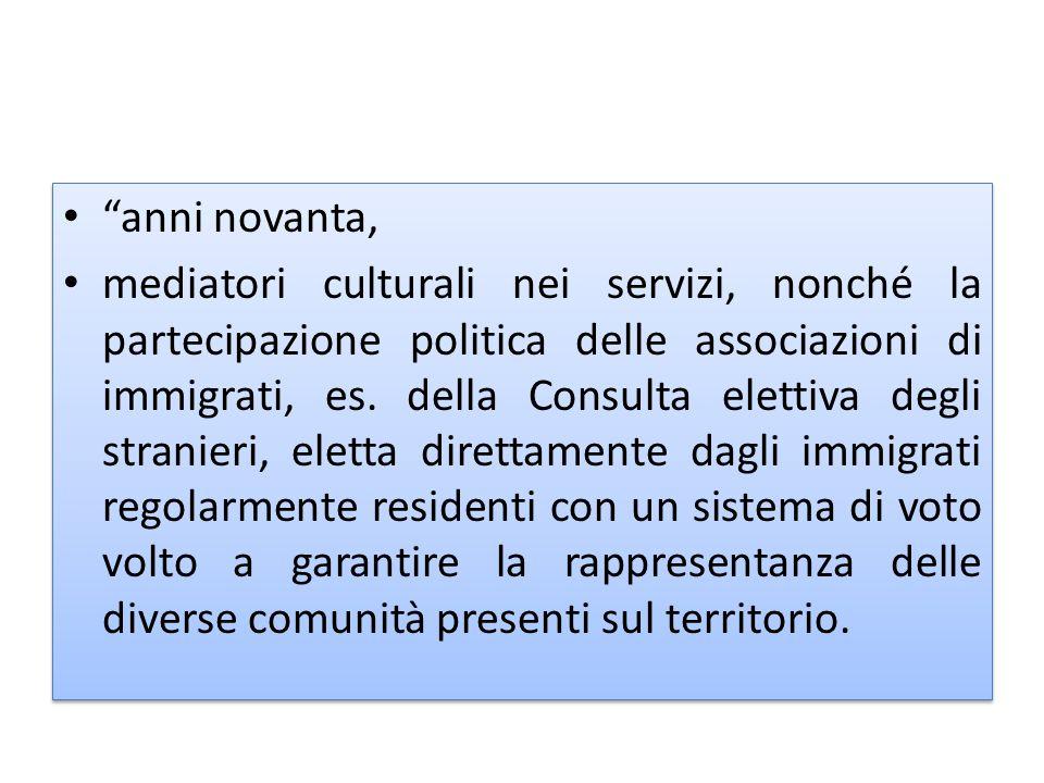 anni novanta, mediatori culturali nei servizi, nonché la partecipazione politica delle associazioni di immigrati, es.