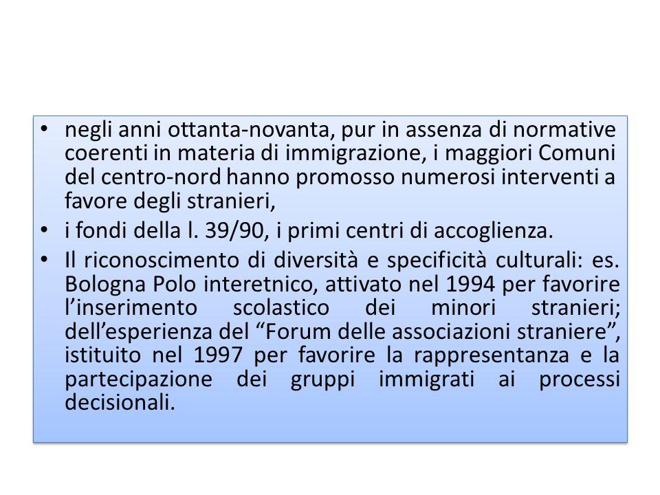 negli anni ottanta-novanta, pur in assenza di normative coerenti in materia di immigrazione, i maggiori Comuni del centro-nord hanno promosso numerosi interventi a favore degli stranieri, i fondi della l.