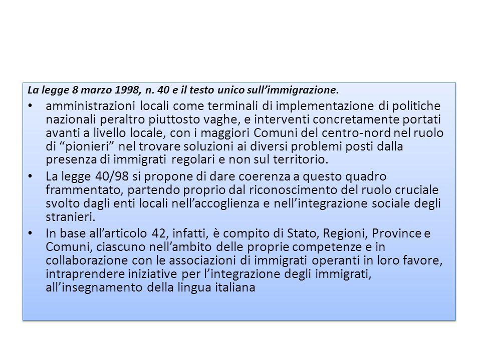 La legge 8 marzo 1998, n.40 e il testo unico sull'immigrazione.