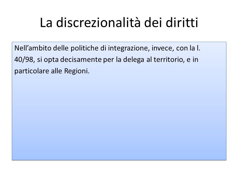La discrezionalità dei diritti Nell'ambito delle politiche di integrazione, invece, con la l.