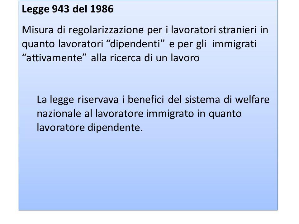 Legge 943 del 1986 Misura di regolarizzazione per i lavoratori stranieri in quanto lavoratori dipendenti e per gli immigrati attivamente alla ricerca di un lavoro La legge riservava i benefici del sistema di welfare nazionale al lavoratore immigrato in quanto lavoratore dipendente.