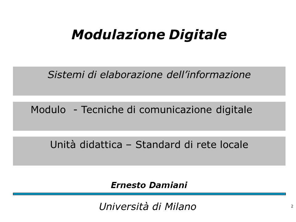 Sistemi di elaborazione dell'informazione Modulo - Tecniche di comunicazione digitale Unità didattica – Standard di rete locale Ernesto Damiani Univer
