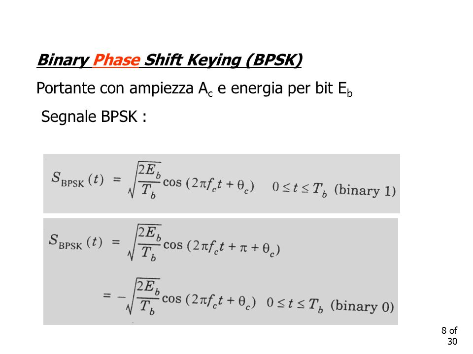 8 of 30 Binary Phase Shift Keying (BPSK) Portante con ampiezza A c e energia per bit E b Segnale BPSK :
