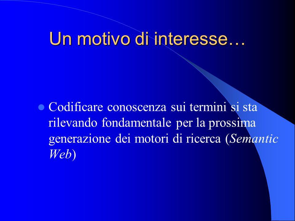 Un motivo di interesse… Codificare conoscenza sui termini si sta rilevando fondamentale per la prossima generazione dei motori di ricerca (Semantic Web)