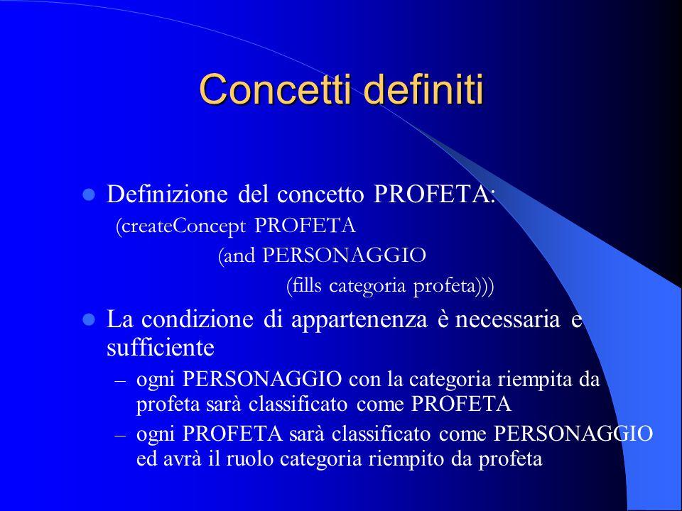 Concetti definiti Definizione del concetto PROFETA: (createConcept PROFETA (and PERSONAGGIO (fills categoria profeta))) La condizione di appartenenza è necessaria e sufficiente – ogni PERSONAGGIO con la categoria riempita da profeta sarà classificato come PROFETA – ogni PROFETA sarà classificato come PERSONAGGIO ed avrà il ruolo categoria riempito da profeta