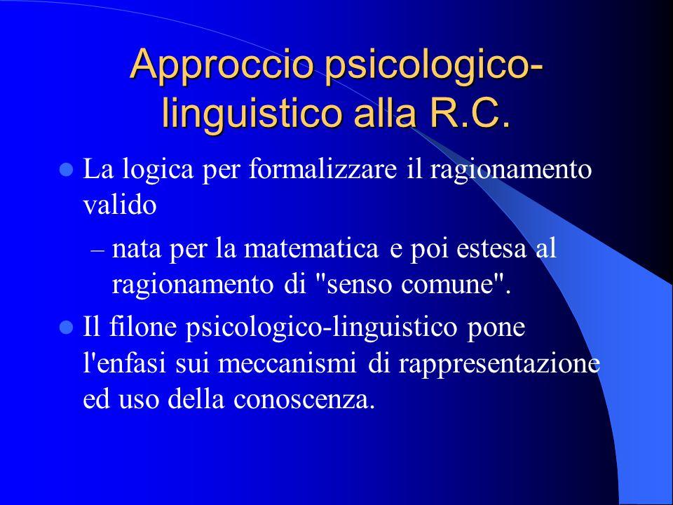 Approccio psicologico- linguistico alla R.C.