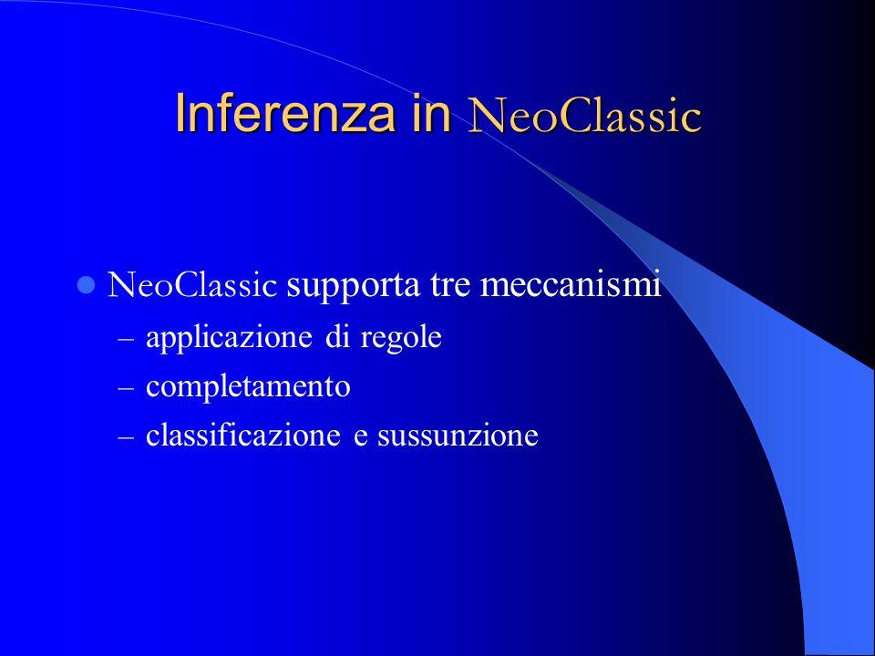 Inferenza in NeoClassic NeoClassic supporta tre meccanismi – applicazione di regole – completamento – classificazione e sussunzione