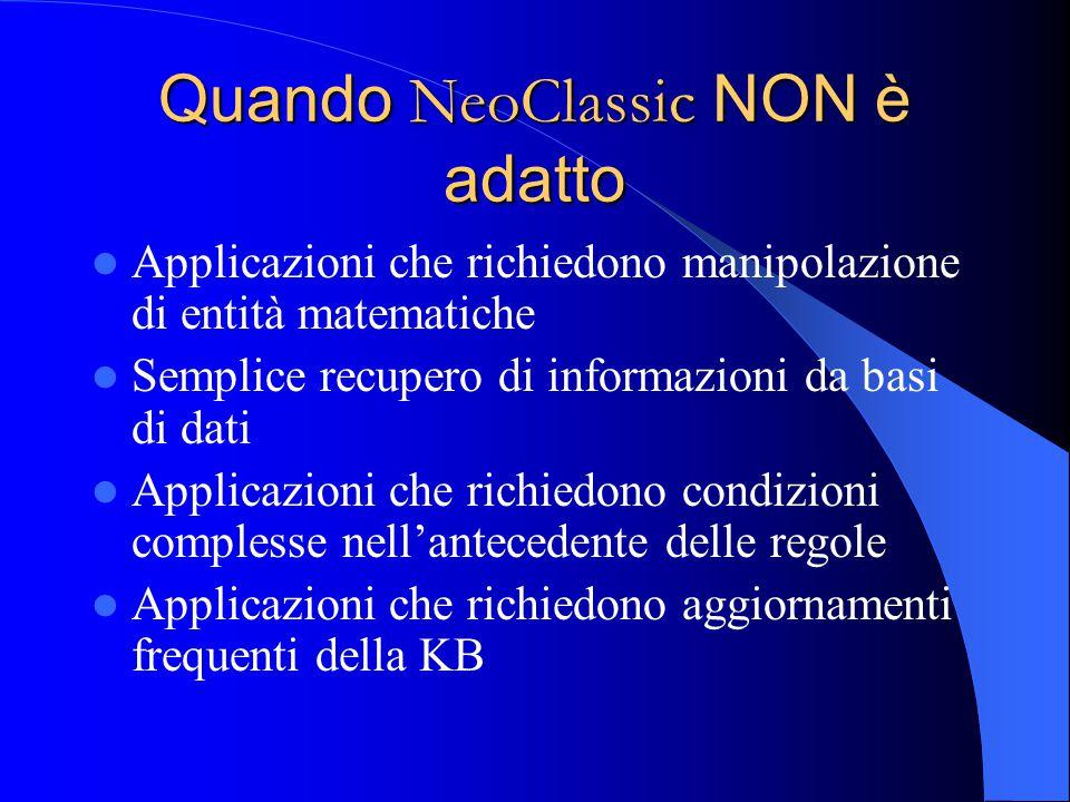 Quando NeoClassic NON è adatto Applicazioni che richiedono manipolazione di entità matematiche Semplice recupero di informazioni da basi di dati Applicazioni che richiedono condizioni complesse nell'antecedente delle regole Applicazioni che richiedono aggiornamenti frequenti della KB
