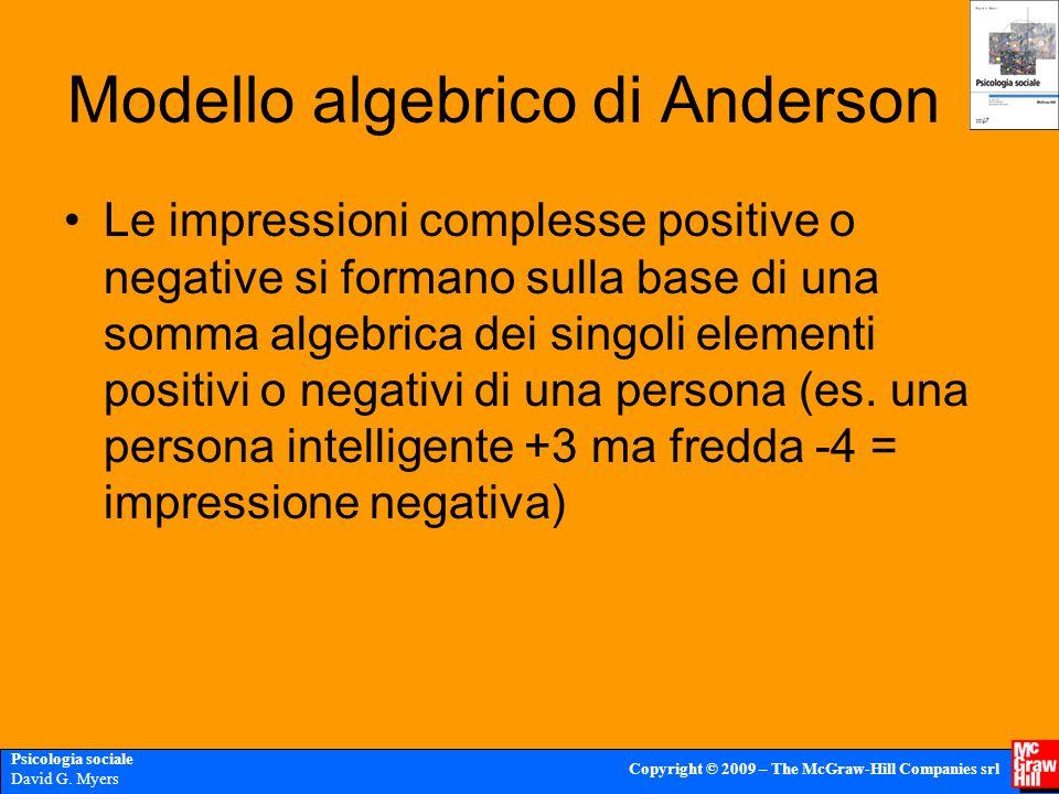Psicologia sociale David G. Myers Copyright © 2009 – The McGraw-Hill Companies srl Modello algebrico di Anderson Le impressioni complesse positive o n