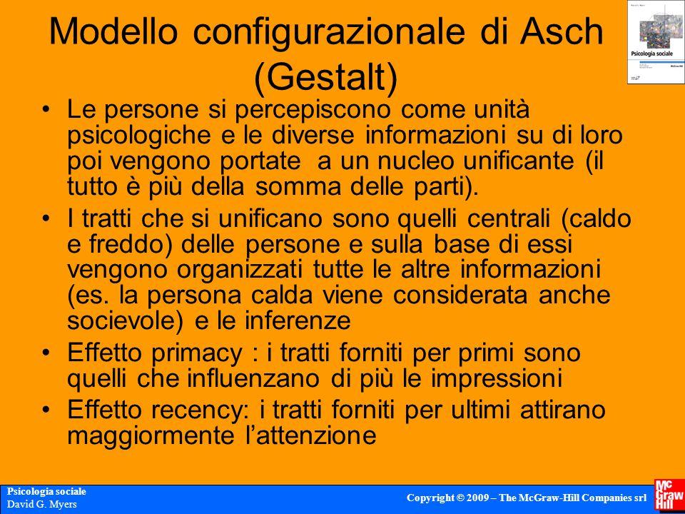 Psicologia sociale David G. Myers Copyright © 2009 – The McGraw-Hill Companies srl Modello configurazionale di Asch (Gestalt) Le persone si percepisco