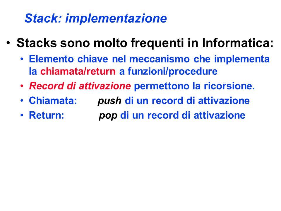 Stack: implementazione Stacks sono molto frequenti in Informatica: Elemento chiave nel meccanismo che implementa la chiamata/return a funzioni/procedure Record di attivazione permettono la ricorsione.