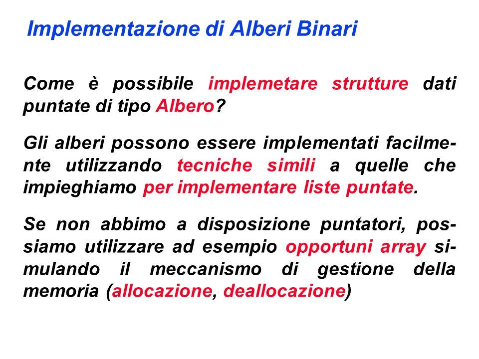Implementazione di Alberi Binari Come è possibile implemetare strutture dati puntate di tipo Albero? Gli alberi possono essere implementati facilme- n