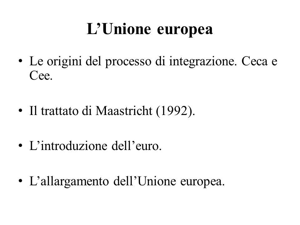 L'Unione europea Le origini del processo di integrazione. Ceca e Cee. Il trattato di Maastricht (1992). L'introduzione dell'euro. L'allargamento dell'