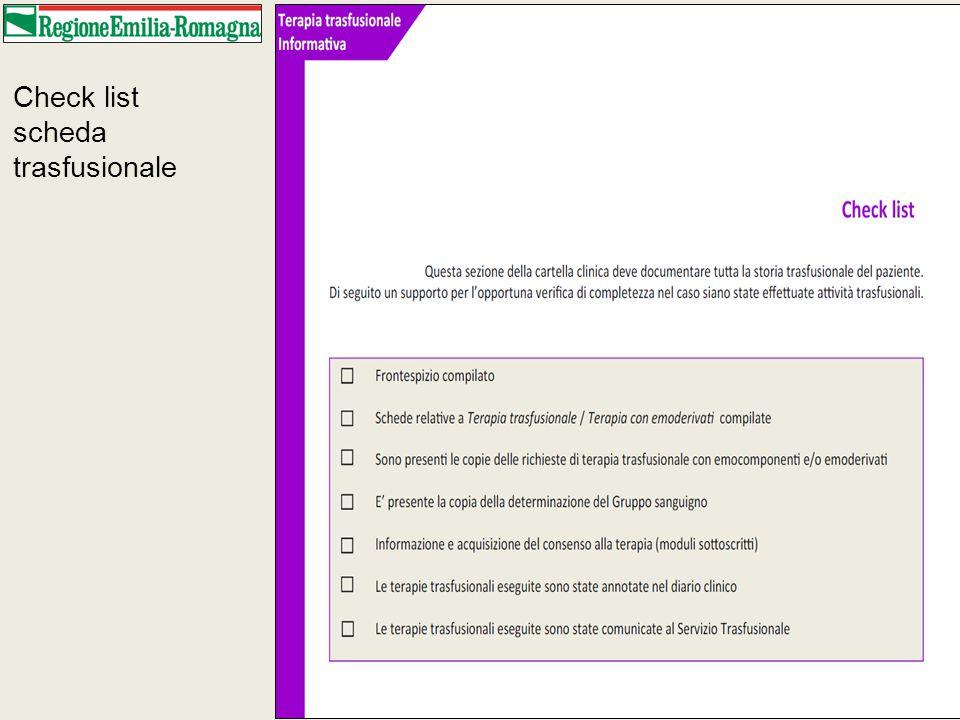 Check list scheda trasfusionale