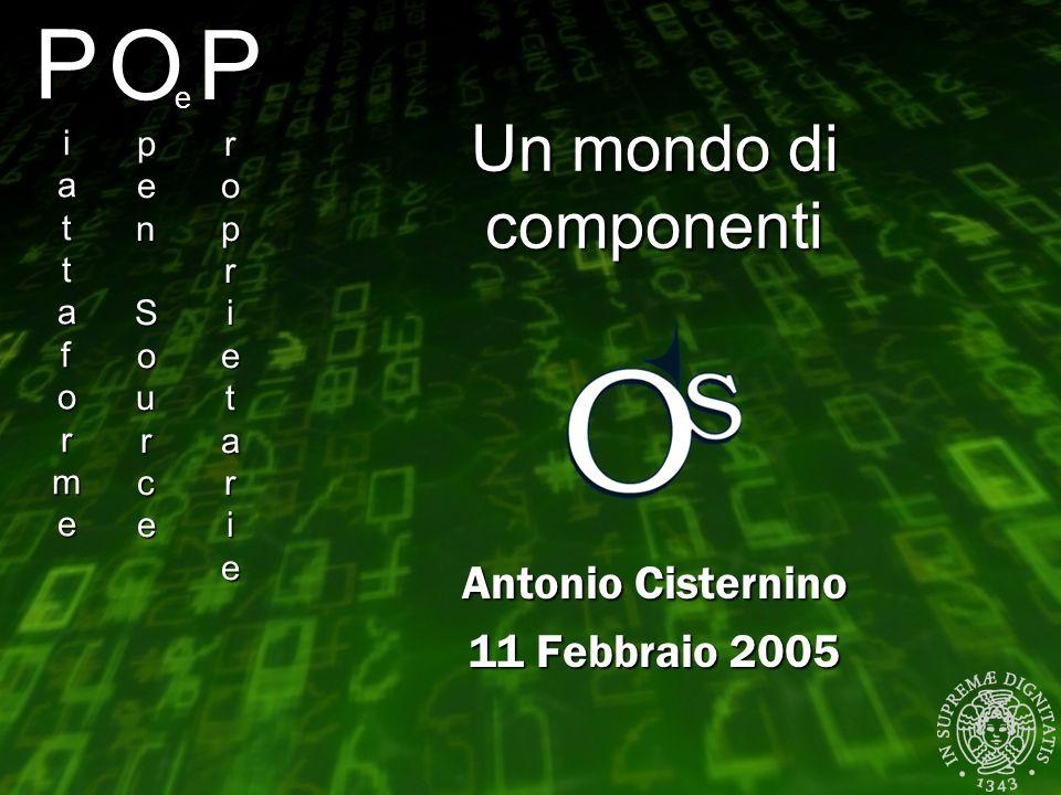 PiattaformePiattaformePiattaformePiattaforme Antonio Cisternino 11 Febbraio 2005 OpenSourceOpenSourceOpenSourceOpenSource e ProprietarieProprietarieProprietarieProprietarie Un mondo di componenti