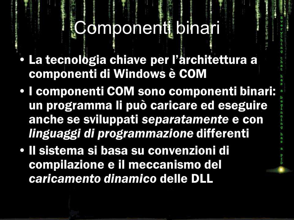 Componenti binari La tecnologia chiave per l'architettura a componenti di Windows è COM I componenti COM sono componenti binari: un programma li può caricare ed eseguire anche se sviluppati separatamente e con linguaggi di programmazione differenti Il sistema si basa su convenzioni di compilazione e il meccanismo del caricamento dinamico delle DLL
