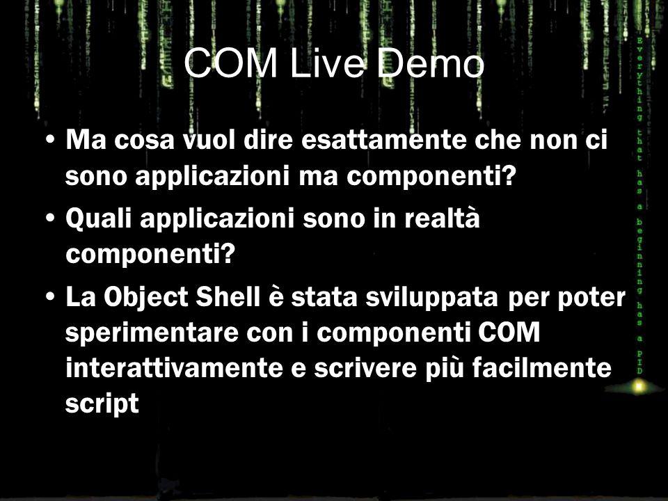 COM Live Demo Ma cosa vuol dire esattamente che non ci sono applicazioni ma componenti? Quali applicazioni sono in realtà componenti? La Object Shell