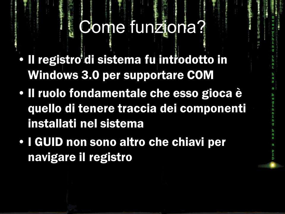 Come funziona? Il registro di sistema fu introdotto in Windows 3.0 per supportare COM Il ruolo fondamentale che esso gioca è quello di tenere traccia